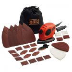 BLACK+DECKER KA161BC Mouse Detail Sander with finger sander attachment and other useful accessories.