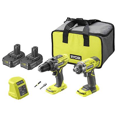 Ryobi R18PD3RID-215S 18V ONE+ Cordless Combi Drill and Impact Driver Starter Kit.